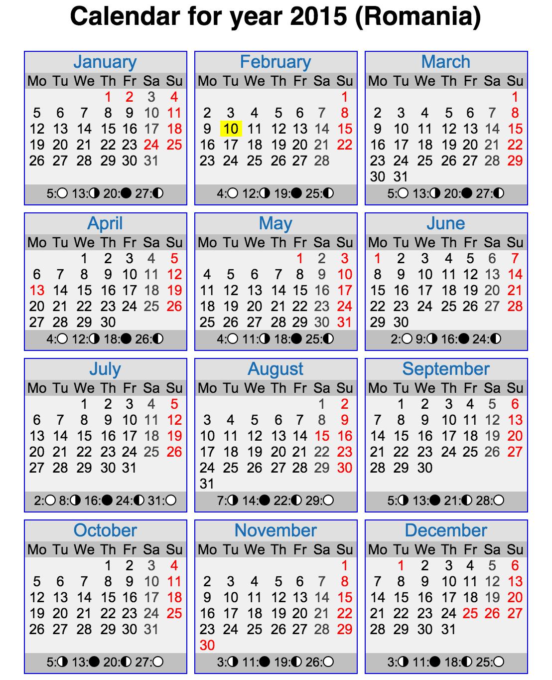 Calendar Lunar 2015